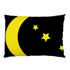 Moon Star Light Black Night Yellow Pillow Case