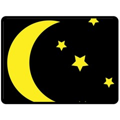 Moon Star Light Black Night Yellow Fleece Blanket (large)