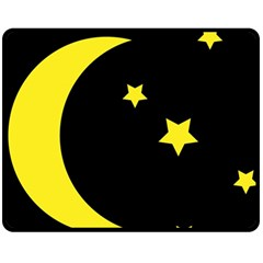Moon Star Light Black Night Yellow Fleece Blanket (Medium)