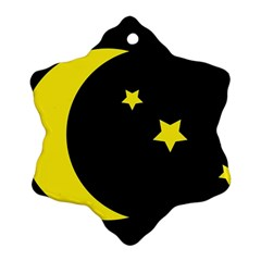Moon Star Light Black Night Yellow Ornament (snowflake)