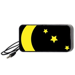 Moon Star Light Black Night Yellow Portable Speaker (Black)