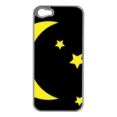 Moon Star Light Black Night Yellow Apple Iphone 5 Case (silver)
