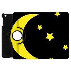 Moon Star Light Black Night Yellow Apple iPad Mini Flip 360 Case