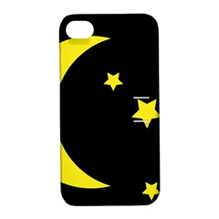 Moon Star Light Black Night Yellow Apple iPhone 4/4S Hardshell Case with Stand