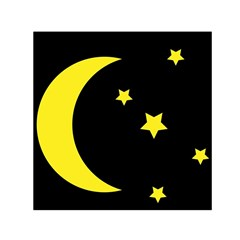 Moon Star Light Black Night Yellow Small Satin Scarf (Square)