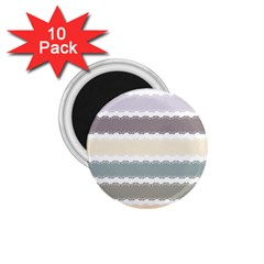 Muted Lace Ribbon Original Grey Purple Pink Wave 1.75  Magnets (10 pack)