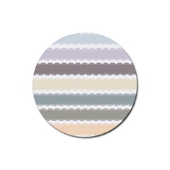 Muted Lace Ribbon Original Grey Purple Pink Wave Rubber Coaster (Round)