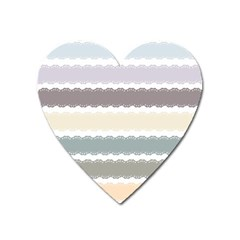 Muted Lace Ribbon Original Grey Purple Pink Wave Heart Magnet