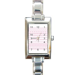 Pink Lace Borders Pink Floral Flower Love Heart Rectangle Italian Charm Watch