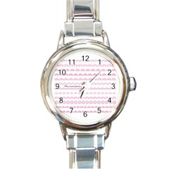Pink Lace Borders Pink Floral Flower Love Heart Round Italian Charm Watch