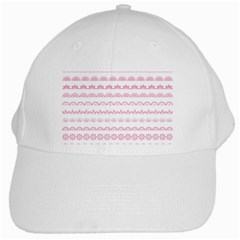 Pink Lace Borders Pink Floral Flower Love Heart White Cap