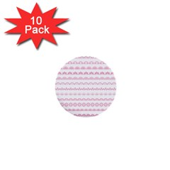 Pink Lace Borders Pink Floral Flower Love Heart 1  Mini Buttons (10 Pack)
