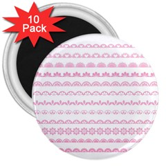 Pink Lace Borders Pink Floral Flower Love Heart 3  Magnets (10 pack)