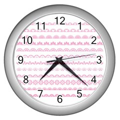 Pink Lace Borders Pink Floral Flower Love Heart Wall Clocks (Silver)