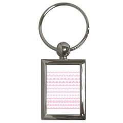 Pink Lace Borders Pink Floral Flower Love Heart Key Chains (Rectangle)