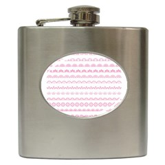 Pink Lace Borders Pink Floral Flower Love Heart Hip Flask (6 Oz)