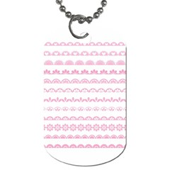 Pink Lace Borders Pink Floral Flower Love Heart Dog Tag (two Sides)
