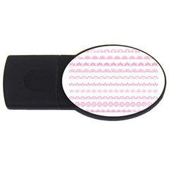 Pink Lace Borders Pink Floral Flower Love Heart Usb Flash Drive Oval (2 Gb)