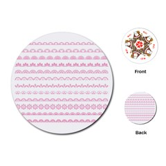 Pink Lace Borders Pink Floral Flower Love Heart Playing Cards (Round)