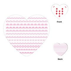 Pink Lace Borders Pink Floral Flower Love Heart Playing Cards (heart)