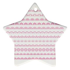 Pink Lace Borders Pink Floral Flower Love Heart Star Ornament (Two Sides)
