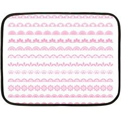 Pink Lace Borders Pink Floral Flower Love Heart Double Sided Fleece Blanket (mini)