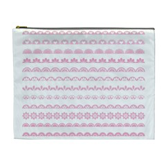 Pink Lace Borders Pink Floral Flower Love Heart Cosmetic Bag (XL)