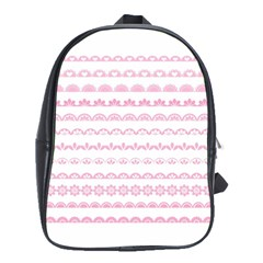 Pink Lace Borders Pink Floral Flower Love Heart School Bags(Large)