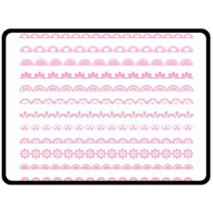 Pink Lace Borders Pink Floral Flower Love Heart Fleece Blanket (Large)