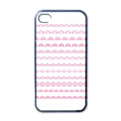 Pink Lace Borders Pink Floral Flower Love Heart Apple iPhone 4 Case (Black)