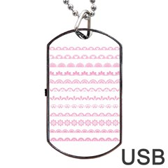 Pink Lace Borders Pink Floral Flower Love Heart Dog Tag USB Flash (Two Sides)