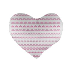 Pink Lace Borders Pink Floral Flower Love Heart Standard 16  Premium Heart Shape Cushions