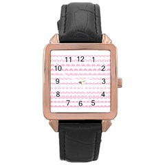Pink Lace Borders Pink Floral Flower Love Heart Rose Gold Leather Watch