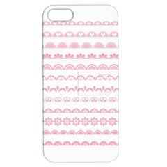 Pink Lace Borders Pink Floral Flower Love Heart Apple iPhone 5 Hardshell Case with Stand