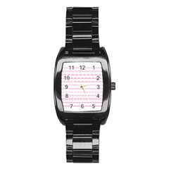 Pink Lace Borders Pink Floral Flower Love Heart Stainless Steel Barrel Watch