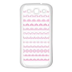 Pink Lace Borders Pink Floral Flower Love Heart Samsung Galaxy S3 Back Case (White)