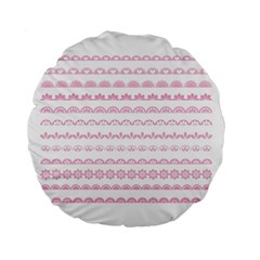 Pink Lace Borders Pink Floral Flower Love Heart Standard 15  Premium Flano Round Cushions