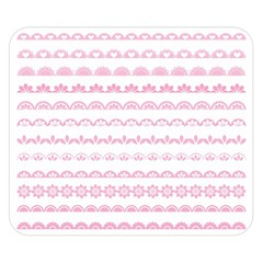 Pink Lace Borders Pink Floral Flower Love Heart Double Sided Flano Blanket (Small)