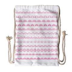 Pink Lace Borders Pink Floral Flower Love Heart Drawstring Bag (large)
