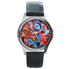 Abstract Fractal Round Metal Watch