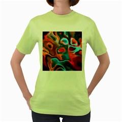 Abstract Fractal Women s Green T Shirt