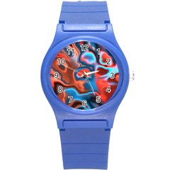 Abstract Fractal Round Plastic Sport Watch (S)