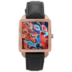 Abstract Fractal Rose Gold Leather Watch