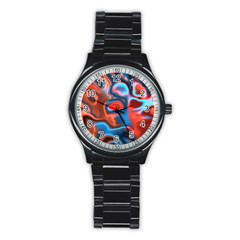 Abstract Fractal Stainless Steel Round Watch