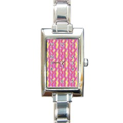 Pink Yelllow Line Light Purple Vertical Rectangle Italian Charm Watch