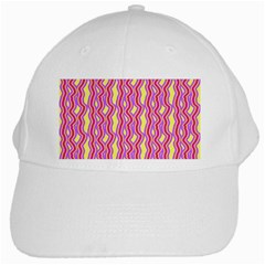 Pink Yelllow Line Light Purple Vertical White Cap