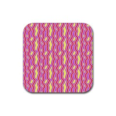 Pink Yelllow Line Light Purple Vertical Rubber Coaster (square)