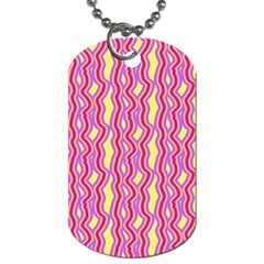Pink Yelllow Line Light Purple Vertical Dog Tag (One Side)