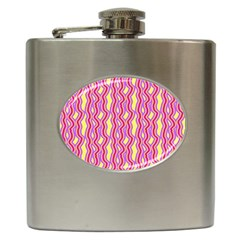 Pink Yelllow Line Light Purple Vertical Hip Flask (6 oz)
