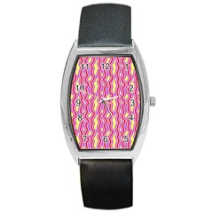 Pink Yelllow Line Light Purple Vertical Barrel Style Metal Watch